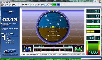 Live flight data in Microdrones mdCockpit for desktops