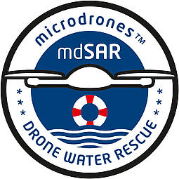 Badge of the Microdrones mdSAR drone water rescue mission
