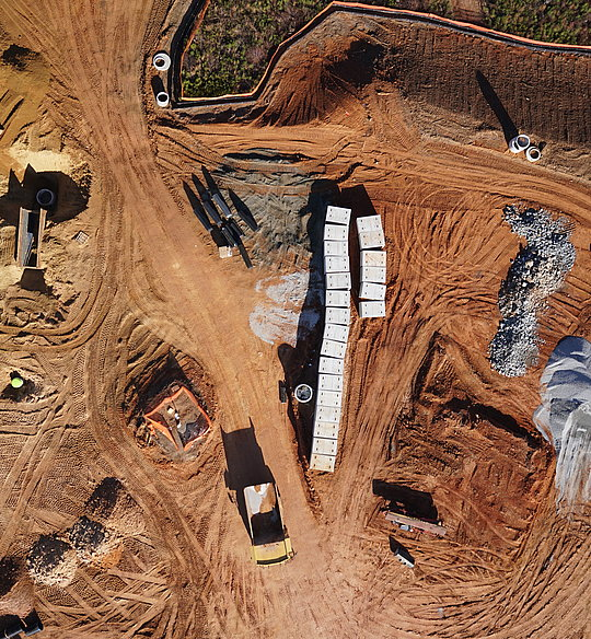 Orthophoto of a construction site