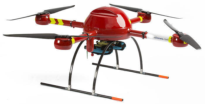Red Microdrones md4-1000 rescue drone, equipped with two Restube lifesaver devices