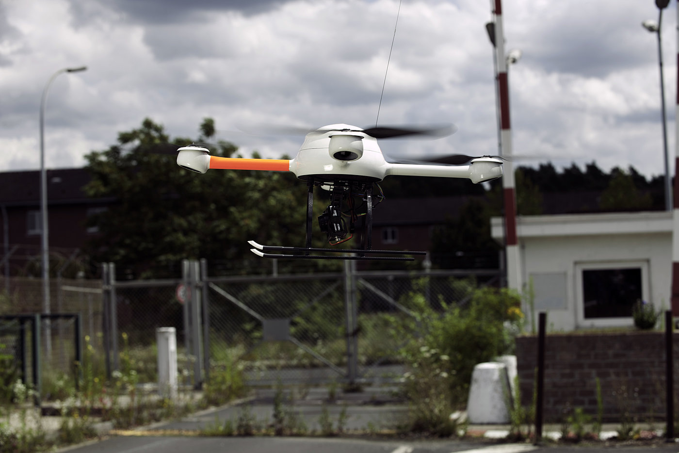 Microdrones md4-200 drone during a surveillance and monitoring flight on a restricted perimeter