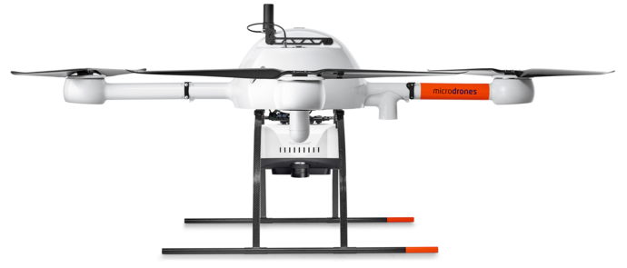Microdrones mdLiDAR1000 Integrated System low left view