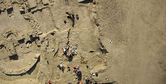 Aerial shot done with a Microdrones UAV, Archaeologists during the excavation of a historical site