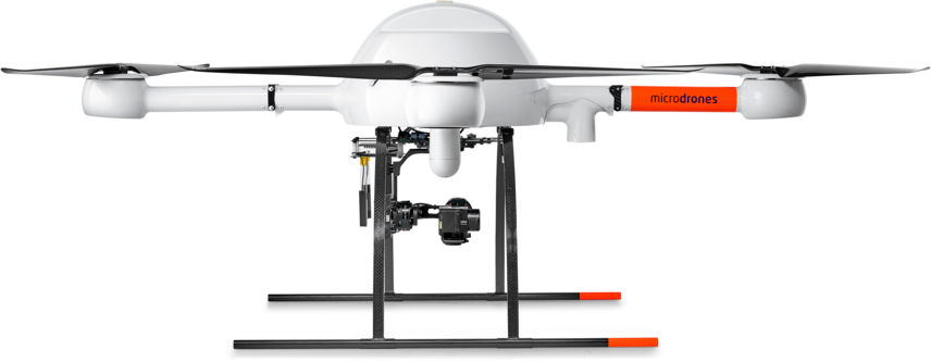 Microdrones md4-1000 low left side view mdMapper +t for thermal imaging and surveillance