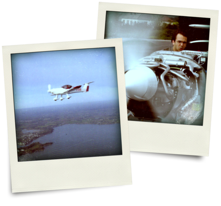 Two polaroid photos showing a two-seater airplane and Vivien Heriard-Dubreuil, Microdrones president, doing tests on a plane engine.