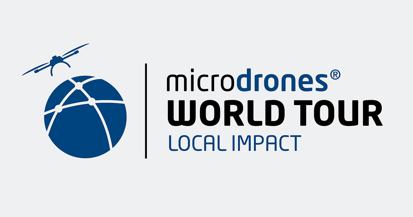 "Logo of the ""Microdrones World Tour - Local Impact"" event"