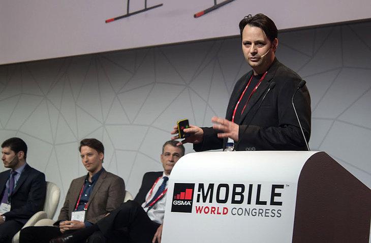 Sven Jürß, Microdrones Business Development Manager, during a presentation on the Mobile World Congress.