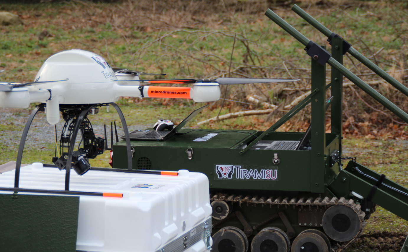 A microdrones md4-1000 UAV used for searching landmines